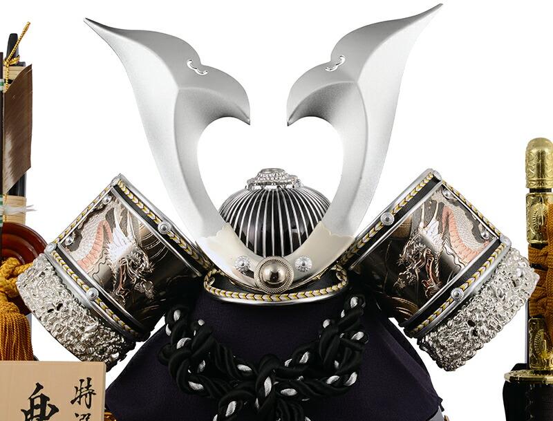 特選伝統工芸 兜飾り 10号 黒檀調 アクリルケース
