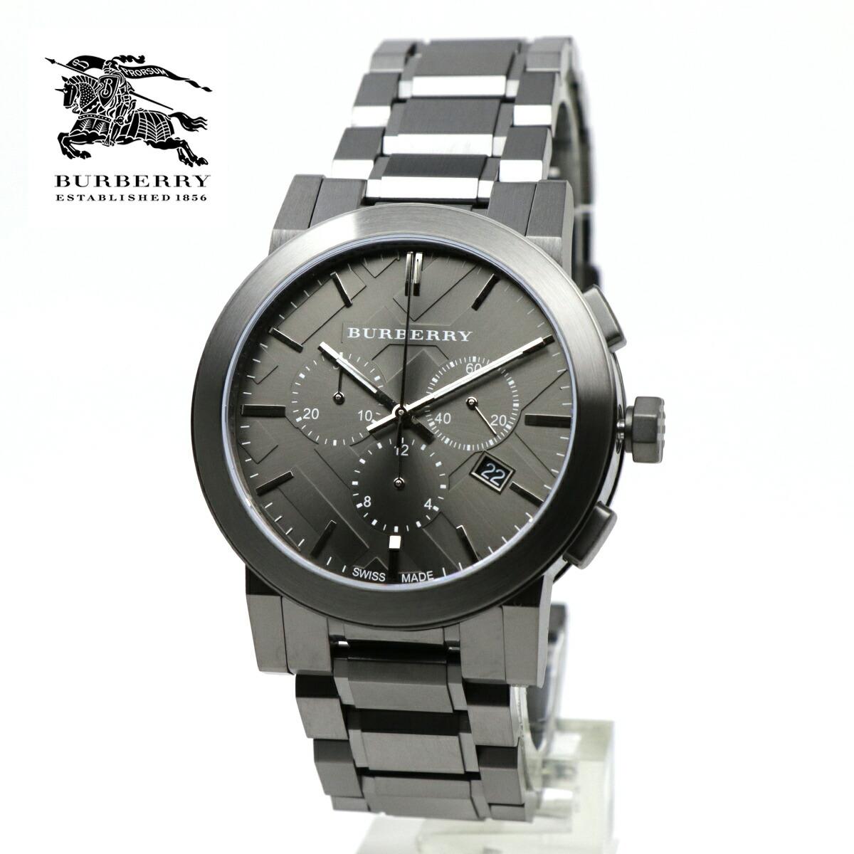 バーバリー BURBERRY 男性用 腕時計 BU9354 CITY シティ クロノグラフ 42mm ガンメタ チェック柄 ガンメタル ブラック メンズウォッチ カレンダー ストップウォッチ