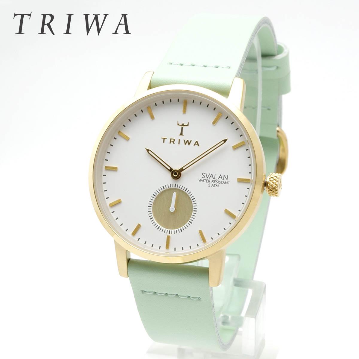 TRIWA トリワ Ivory Svalan SVST105-SS113113 アイボリー スヴァラン Mint Classic Super Slim ミントグリーン スーパースリム スバラン 33mm径 レディースモデル スモールセコンド アナログ 女性用腕時計 薄型 軽量