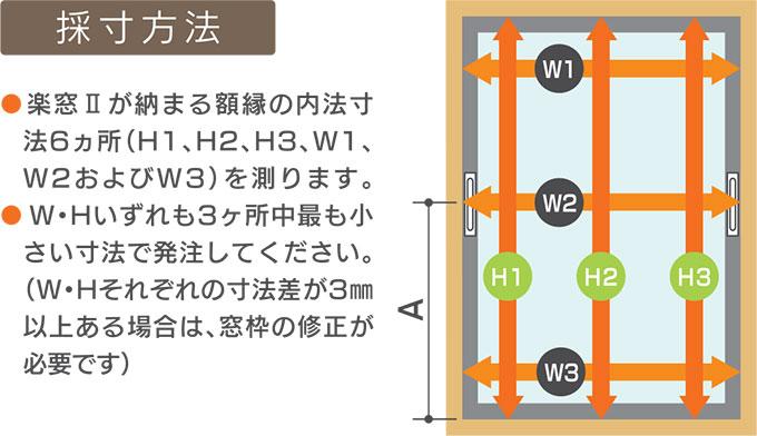 楽窓 上げ下げ窓 Raku-Mado 採寸方法
