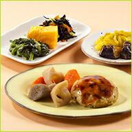鶏と野菜の豆腐ハンバーグとおかず6種