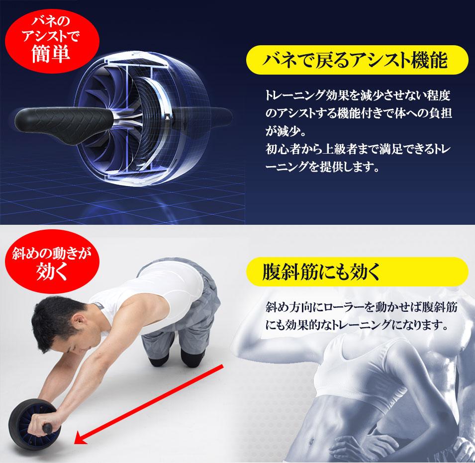 フィットネスクラブがつくった ダブル腹筋ローラー バネアシスト機能付き【送料無料】