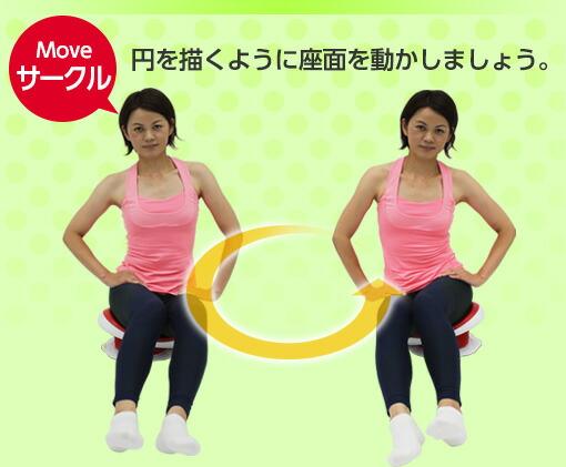 円を描くように座面を動かす
