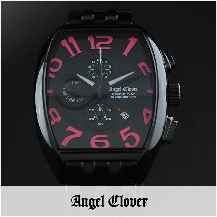 エンジェルクローバー ダブルプレイ ブラック/ピンク デイト クロノグラフ DP38BBP メンズ
