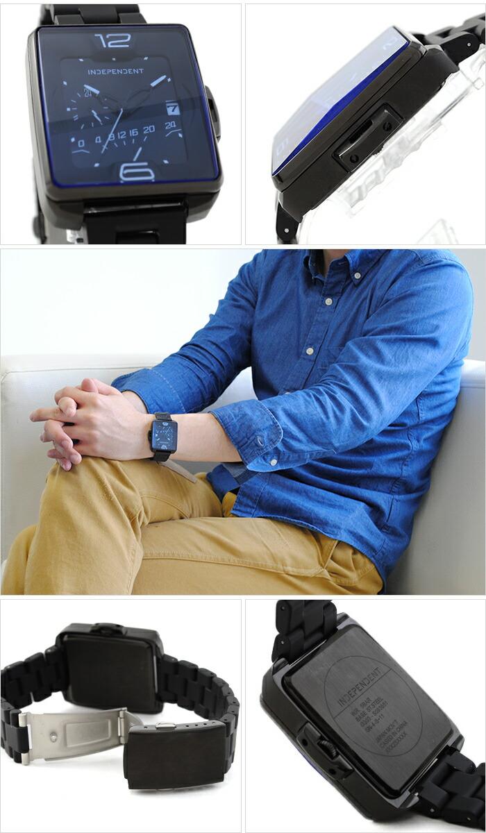 インディペンデント Innovative Line Swing レトログラード24時間計付 ステンレス×シリコンラバーコーティングバンドモデル BQ5-048-51 メンズ