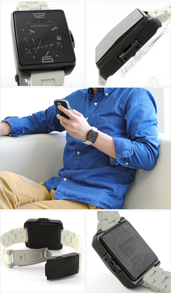 インディペンデント Innovative Line Swing レトログラード24時間計付 ステンレス×シリコンラバーコーティングバンドモデル BQ5-048-53 メンズ