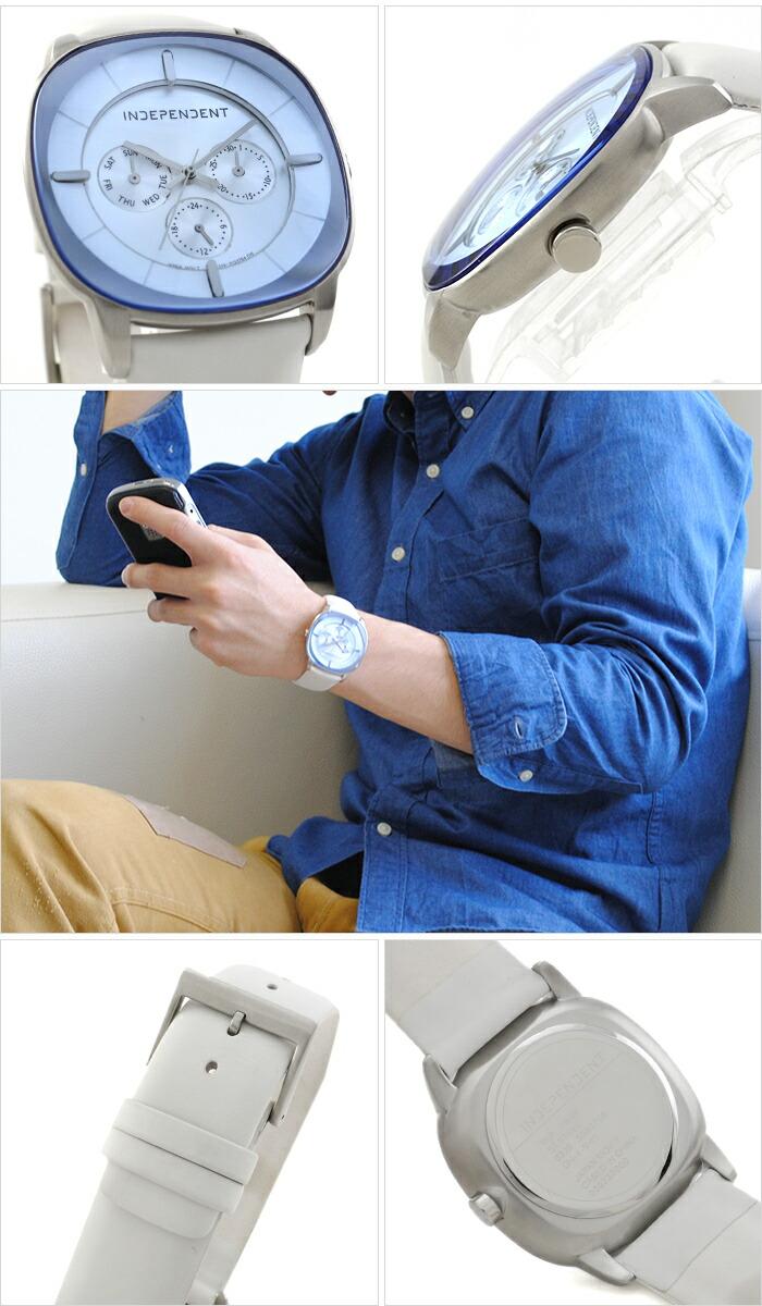 インディペンデント Timeless Line Clear Pebble マルチカレンダー クロノグラフ BH7-318-90 メンズ