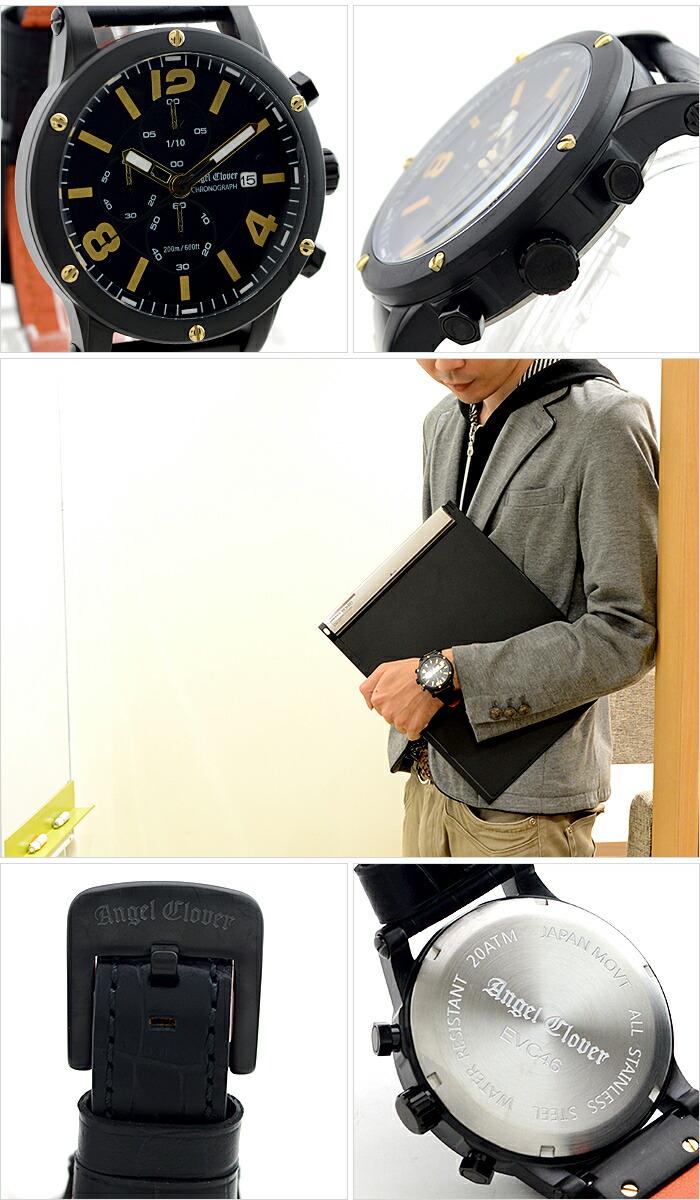 エンジェルクローバー エクスベンチャー ブラック ステンレスクロノグラフ デイト EVC46BBK-BK メンズ