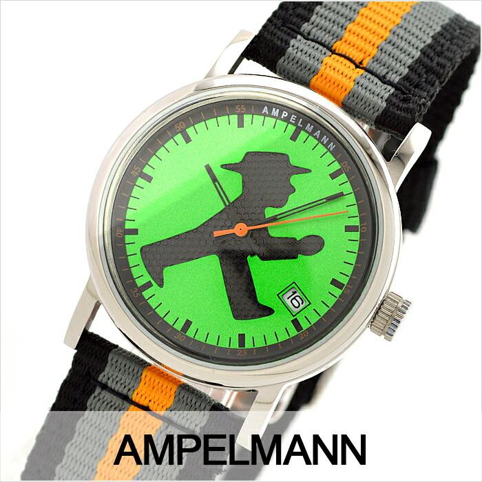 アンペルマン クォーツ ラウンド グリーン ASC-4972-12 ユニセックス