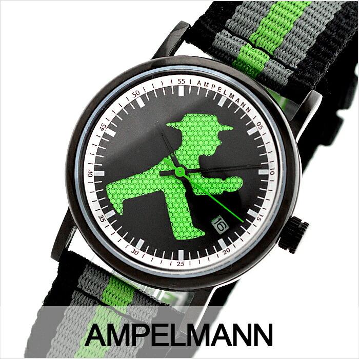アンペルマン クォーツ ラウンド ブラック ASC-4972-05 ユニセックス