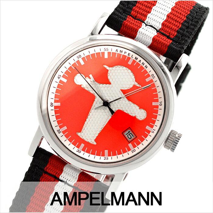 アンペルマン クォーツ ラウンド レッド ASC-4972-19 ユニセックス