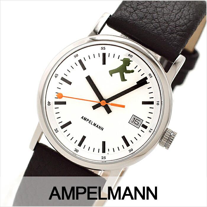 アンペルマン クォーツ ラウンド レザーバンド ホワイト ASC-4973-03 ユニセックス