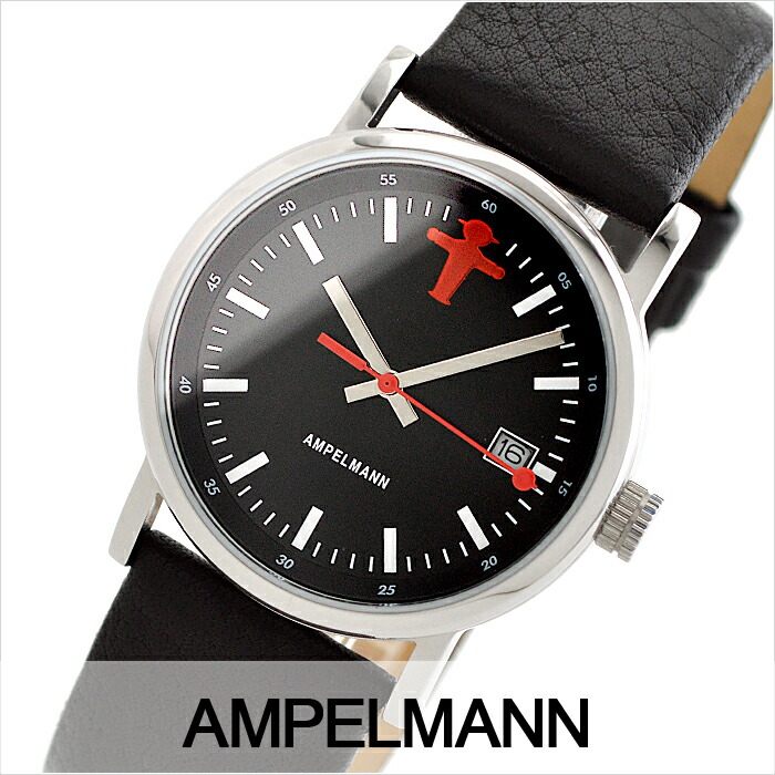 アンペルマン クォーツ ラウンド レザーバンド ブラック ASC-4973-05 ユニセックス