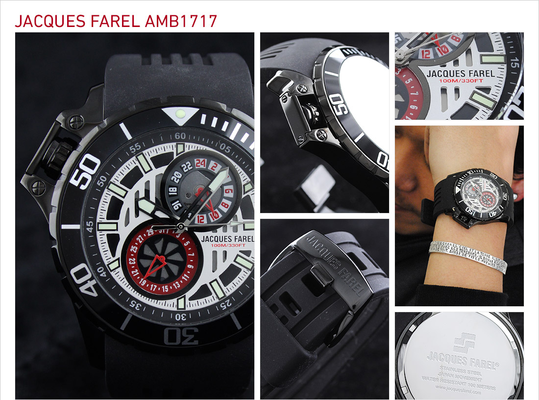 ジャックスファレル ブラック×ホワイト AMB1717 メンズ