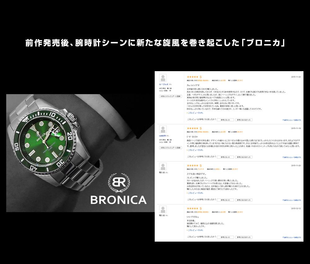 ブロニカ 腕時計本舗限定 ソーラー ブラック×ホワイト BR-821-BK メンズ