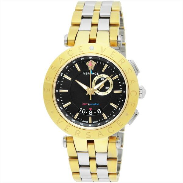 ヴェルサーチ 時計 メンズ VERSACE 29G79D009S079 V-RACEGMTALARM クォーツ アラーム機能 腕時計 ウォッチ ブラック/イエローゴールド/シルバー