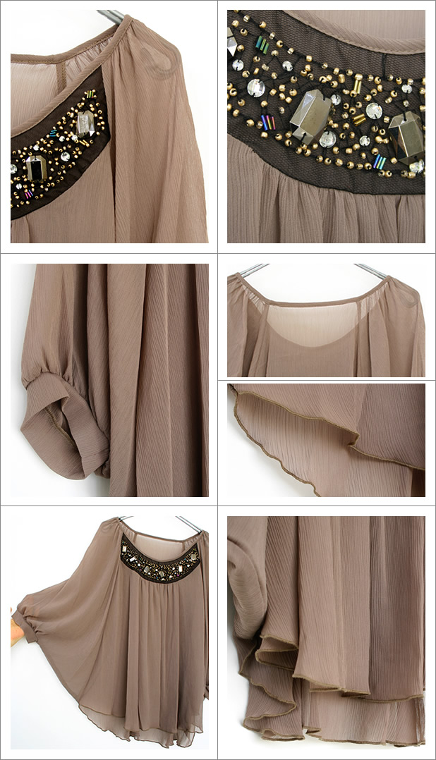 c09c22ac6 Select Shop 1inch: Breast glitter embroidery sallow chiffon poncho ...