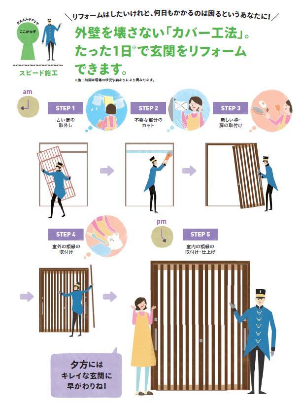 カバー工法で楽々快適玄関リフォーム★