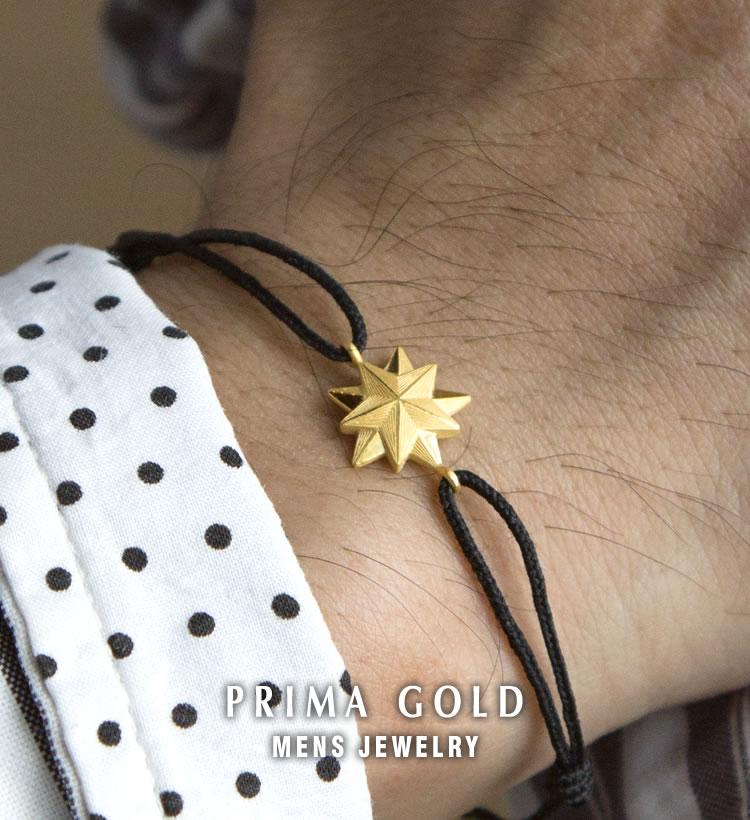 24K PRIMA GOLD - mens jewelry - 純金トップ Blackコード メンズブレスレット(紐付き)