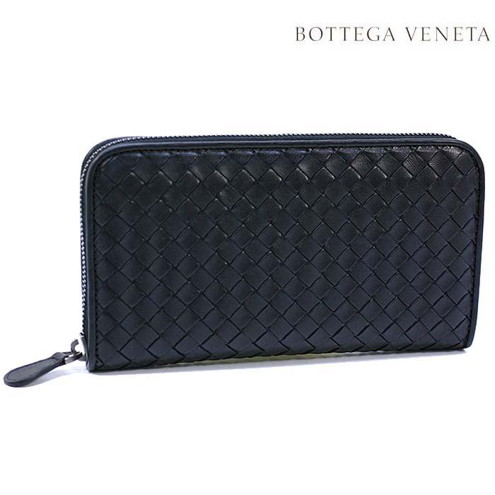 ボッテガヴェネタ 長財布 BOTTEGA VENETA 財布 ラウンドファスナー ラムレザー / ブラック 01