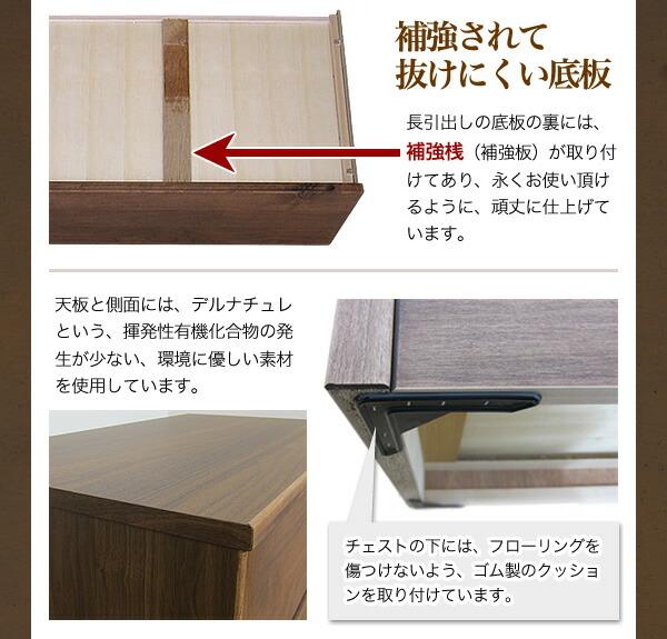 補強桟付き引出し。天板と側面にデルナチュレを使用