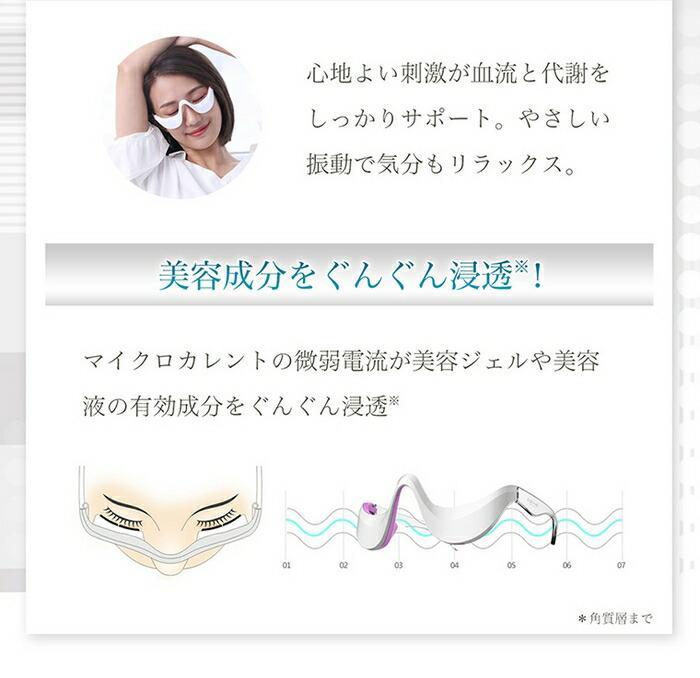 マイクロカレント作用で化粧品の美容成分をぐんぐん浸透させます。