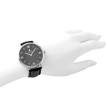 アレス ALLES wbe19a001 【工具不要で取付簡単!】 腕時計用ベルト クロコ型押し ブラック 19mm レバーピン 時計バンド 革バンド ベルトのみ