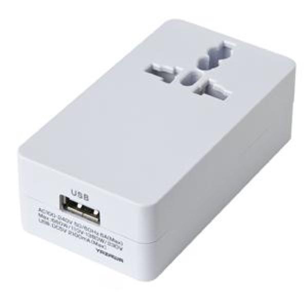 【送料無料】ヤザワ 海外用マルチ変換プラグ USB1ポート/2A出力 ホワイト A・C・O・BF・SEタイプ HPM42AWH