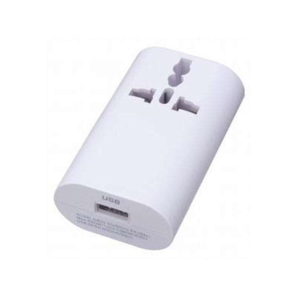 【送料無料】ヤザワ 海外用マルチ変換プラグ USB1ポート/1A出力 ホワイト A・C・O・BF・SEタイプ HPM4WH
