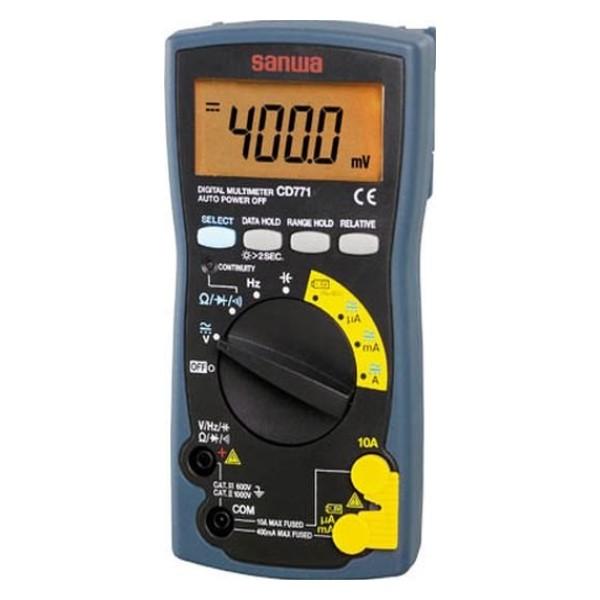 三和電気計器/SANWA デジタルマルチメータ 導通チェック/バッテリーチェックレンジ/大遮断容量ヒューズ搭載 CD-771