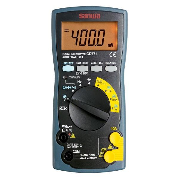 三和電気計器/SANWA デジタルマルチメータ 導通チェック/バッテリーチェックレンジ/大遮断容量ヒューズ搭載 CD-771P