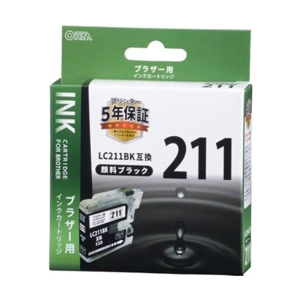 【ネコポス送料無料】OHM ブラザー互換インク LC211BK互換 顔料ブラック×1個 INK-B211B-BK