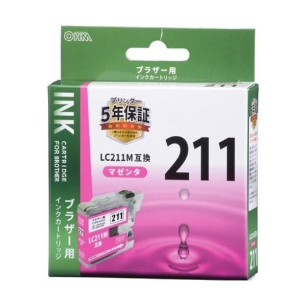 【ネコポス送料無料】OHM ブラザー互換インク LC211M互換 マゼンタ×1個 INK-B211B-M