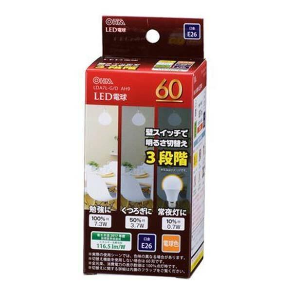 OHM LED電球 電球色 60W/851lm/E26/広配光220°/密閉形器具対応/調光機能付 LDA7L-GDAH9