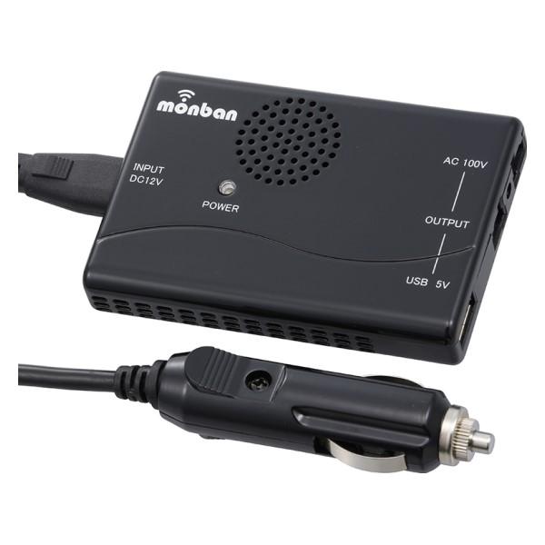 OHM 車載用ACインバーター 120W AC1個口/USB1ポート DC12V車専用 OSE-DA120U05-K
