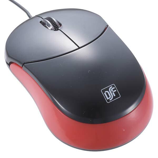 OHM ブルーLED USBマウス 静音型 ブラック/レッド PC-SMCBAS-KR