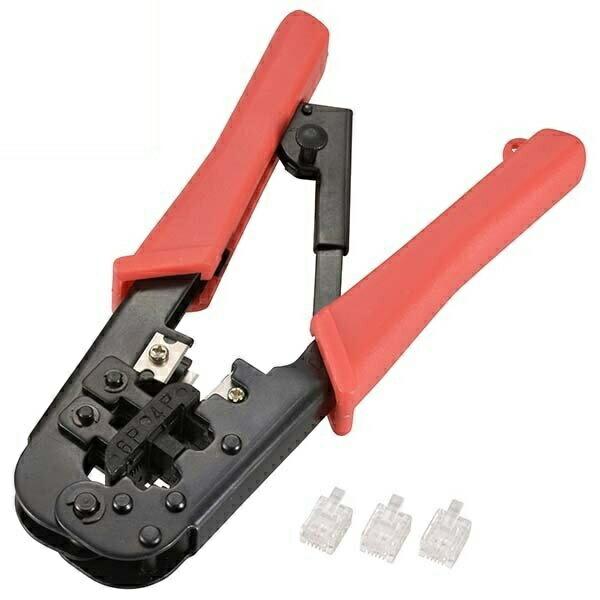 【送料無料】OHM 電話用モジュラーペンチセット 2芯プラグ3個付 05-0422 TEL-P0422 電話線 テレホンコード用 圧着工具