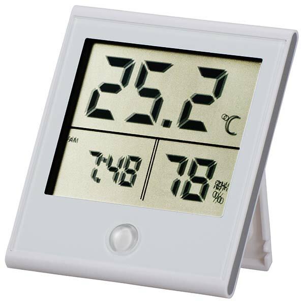 OHM デジタル温湿度計 時計機能付き ホワイト TEM-210-W