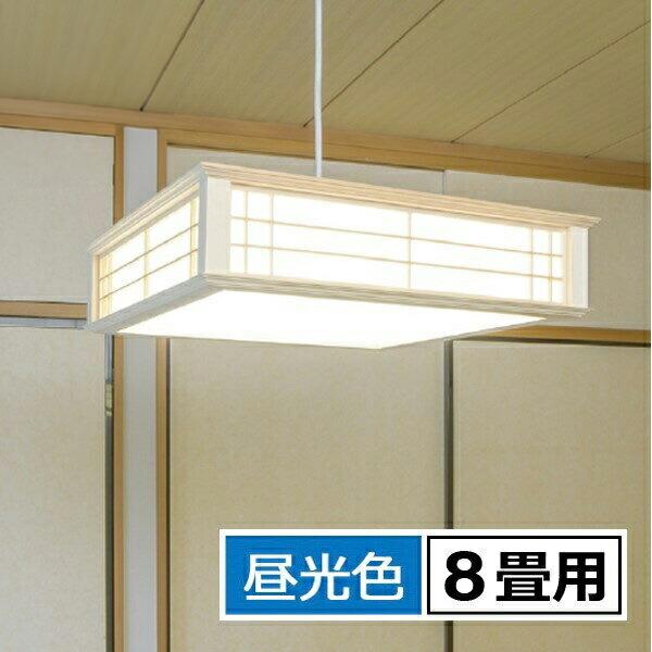 【ポイント5倍】【送料無料】OHM LED和風ペンダントライト 8畳用 昼光色 リモコン付 天然木使用 LT-W30D8K-K