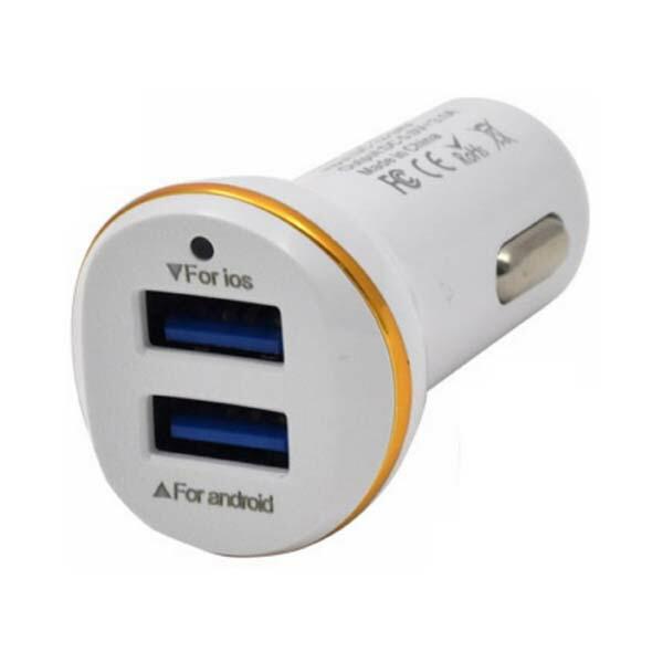 【メール便送料無料】2ポートシガーソケットUSB充電器 USBカーチャージャー 3.1A/急速充電対応 ホワイト iPhone・スマホ・タブレット対応 WM-867