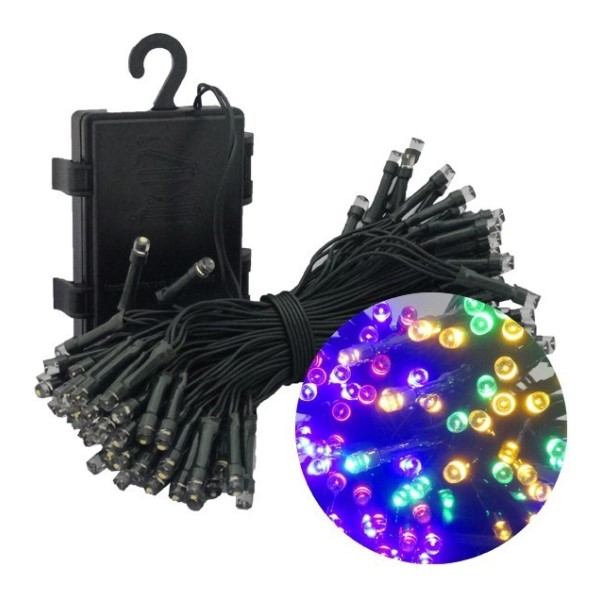 【送料無料】イルミネーションLEDライト ミックス 100球 全長10m 防滴 クリスマスツリー用 単3電池4本付 HAC1437-MX デコレーション イルミネーション LED ライト