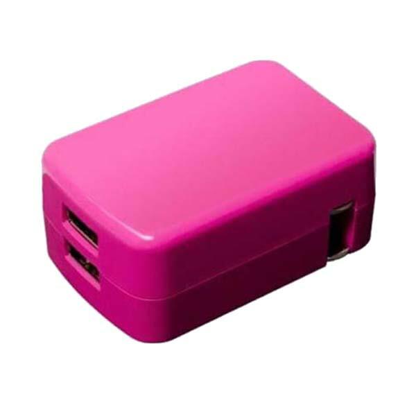 【メール便送料無料】小型・軽量USB-ACコンセントアダプター USB2ポート/2.4A出力対応 急速充電対応USB充電器 iPhone8/8Plus/X/SE/スマホ/タブレット対応 ピンク IPA-24U2/PK