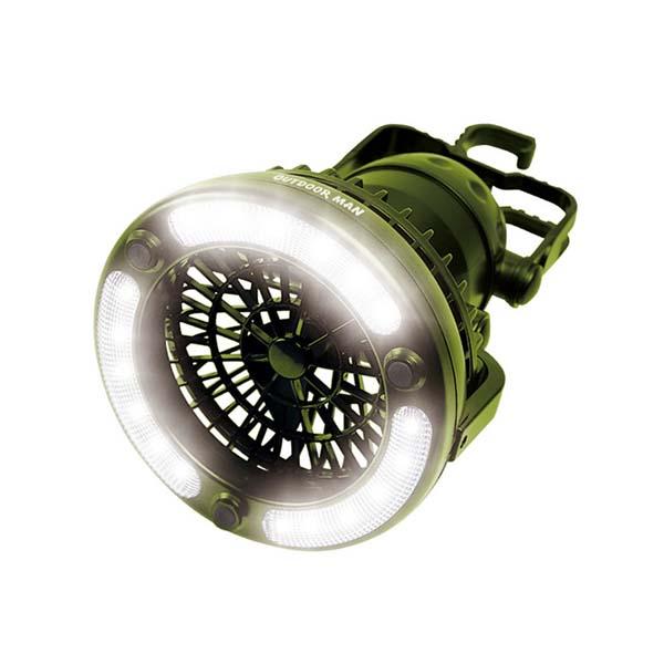 【送料無料】LEDライト付き 扇風機 送風機 ライト&ファン 電池式 OUTDOOR MAN KK-00363 キャンプ アウトドア用品 送風 持ち手付き テントライト 電灯 手持ち 明るい 吊り下げ