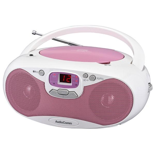 AudioComm CDラジオプレーヤー AM/FM対応 ピンク RCR-530N-P