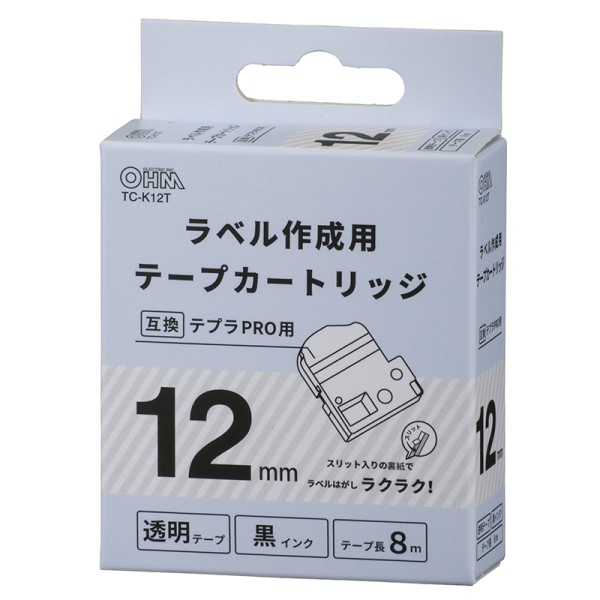 OHM テプラ互換ラベル 透明テープ 黒文字 幅12mm TC-K12T