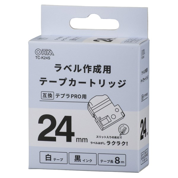 OHM テプラ互換ラベル 白テープ 黒文字 幅24mm TC-K24S