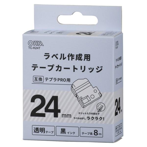 OHM テプラ互換ラベル 透明テープ 黒文字 幅24mm TC-K24T