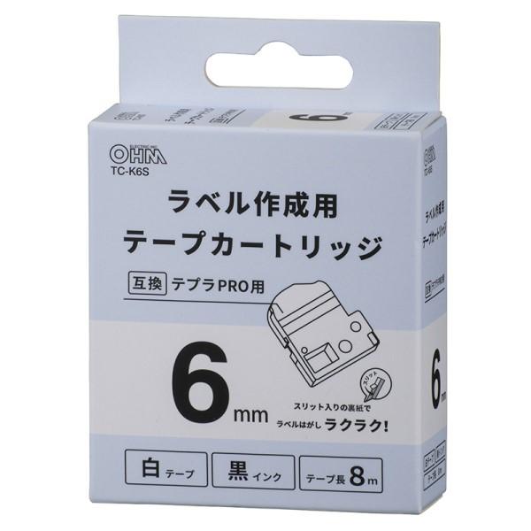 OHM テプラ互換ラベル 白テープ 黒文字 幅6mm TC-K6S
