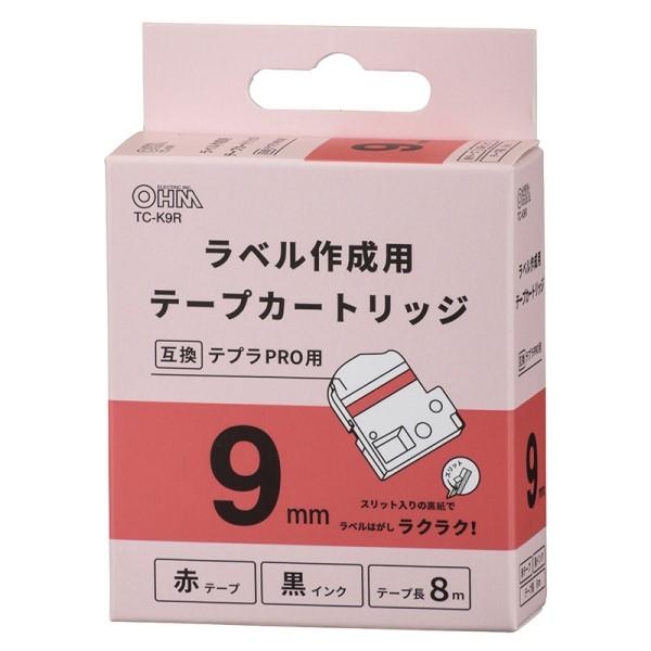 OHM テプラ互換ラベル 赤テープ 黒文字 幅9mm TC-K9R