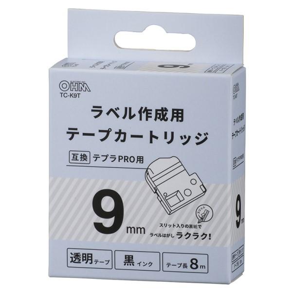 OHM テプラ互換ラベル 透明テープ 黒文字 幅9mm TC-K9T